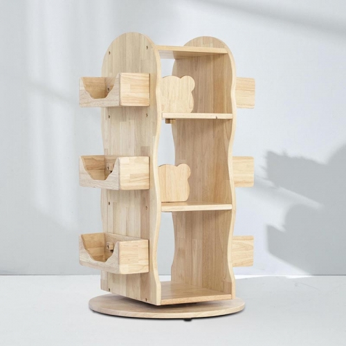 MesaSilla Revolving Solid Wood Bookcase